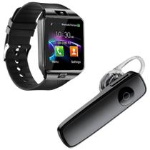 Kit 1 Relógio SmartWatch DZ09 Preto + 1 Fone De Ouvido Sem Fio Bluetooth Headset Preto - Smart Bracelet
