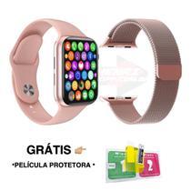 Kit 1 Relógio SmartWatch IWO8 Lite Plus + 1 Pulseira Aço Milanese + Película -