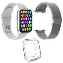 Kit 1 Relógio SmartWatch IWO8 Lite Plus Branco + 1 Pulseira Aço Milanese Prata + 1 Case Silicone - Smart Bracelet