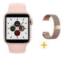 Kit 1 Relógio SmartWatch IWO8 Lite Plus Rose + 1 Pulseira Aço Milanese  + 1 Case Silicone - Smart Bracelet -