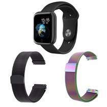 Kit 1 Relógio Smartwatch P70 Monitor de Saúde Preto Android iOS + 2 Pulseiras Milanesa Preto e Arco Íris - Smart Bracelet