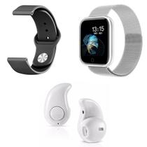 Kit 1 Relógio Smartwatch P70 Prata Android iOS + 1 Pulseira Extra + 1 Mini Fone Bluetooth Branco - Smart Bracelet