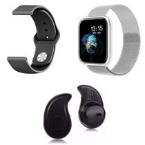 Kit 1 Relógio Smartwatch P70 Prata Android iOS + 1 Pulseira Extra + 1 Mini Fone Bluetooth Preto - Smart Bracelet