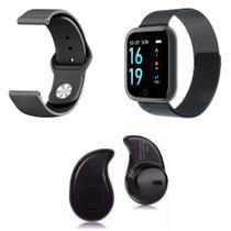 Kit 1 Relógio Smartwatch P70 Preto Android iOS + 1 Pulseira Extra + 1 Mini Fone Bluetooth Preto - Smart Bracelet