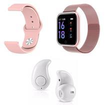 Kit 1 Relógio Smartwatch P70 Rosa Android iOS + 1 Pulseira Extra + 1 Mini Fone Bluetooth Branco - Smart Bracelet