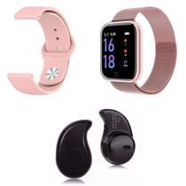 Kit 1 Relógio Smartwatch P70 Rosa Android iOS + 1 Pulseira Extra + 1 Mini Fone Bluetooth Preto - Smart Bracelet