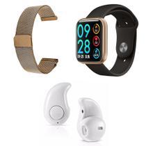 Kit 1 Relógio Smartwatch P80 Dourado Android iOS + 1 Pulseira Extra + 1 Mini Fone Bluetooth Branco - Smart Bracelet