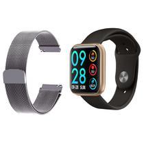 Kit 1 Relógio Smartwatch P80 Monitor de Saúde Dourado Android iOS + 1 Pulseira Milanesa Prata - Smart Bracelet