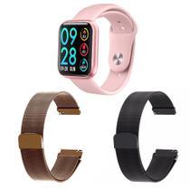 Kit 1 Relógio Smartwatch P80 Monitor de Saúde Rosa Android iOS + 2 Pulseiras Milanesa Preto e Rosê - Smart Bracelet