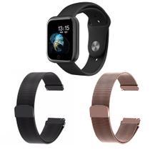 Kit 1 Relógio Smartwatch T80 Monitor de Saúde Preto Android iOS + 2 Pulseiras Milanesa Preto e Rosa - Smart Bracelet