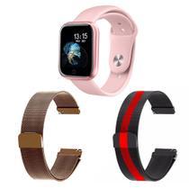 Kit 1 Relógio Smartwatch T80 Monitor de Saúde Rosa Android iOS + 2 Pulseiras Milanesa Rosê e Listrado - Smart Bracelet