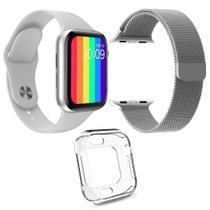 Kit 1 Relógio SmartWatch W26 Tela Infinita Branco + 1 Pulseira Aço Milanese Prata + 1 Case Silicone - Smart Bracelet