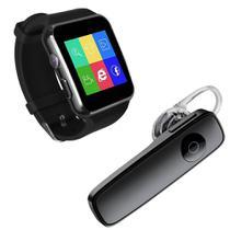 Kit 1 Relógio SmartWatch X6 Preto + 1 Fone De Ouvido Sem Fio Bluetooth Headset Preto - Smart Bracelet