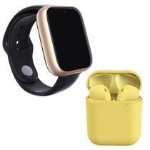 Kit 1 Relógio SmartWatch Z6 Dourado + 1 Fone Bluetooth inPods 12 Amarelo - Smart Bracelet