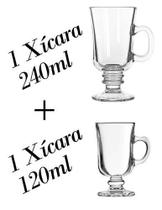 Kit 1 Xícara 120ml + 1 240ml Dolce Gusto - Caneca Capuccino - Crisal
