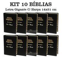 Kit 10 Bíblia Sagrada Letra Gigante - Luxo -Preta - C/ Harpa Cristã - Rei Das Biblias