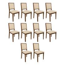 Kit 10 Cadeiras De Madeira Premium Almofadada Sevilha Palha - Imbuia - Nina Mobilia
