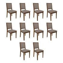 Kit 10 Cadeiras De Madeira Premium Almofadada Sevilha Urbano - Imbuia - Nina Mobilia