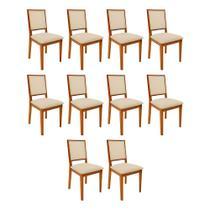 Kit 10 Cadeiras De Madeira Sevilha Palha - Mel - Nina Mobilia