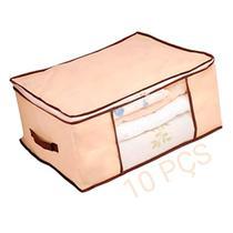 Kit 10 Caixa Organizadora Flexível Multiuso Bege com Borda Reforçada Marrom 60x45x30 cm Kehome -