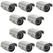 Kit 10 Câmeras De Segurança ccd 36 leds Infra 1000 linhas 3,6mm com suporte fonte e conector - AP-8809 - Powerxl