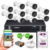 kit 10 Câmeras de Segurança Intelbras HD 720p VHD 3130 B G6 30m Infra METAL + DVR Intelbras + HD 1tb -