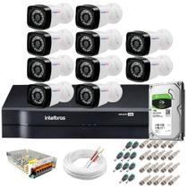 Kit 10 Câmeras Segurança HD 720p 20m Infravermelho + DVR Intelbras + HD 1 TB + App de Monitoramento -