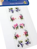 Kit 10 Cartelas Adesivos de Unhas Strass Nail, 100% Artesanal, Arte Sedução -