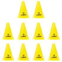Kit 10 Cones de Agilidade para Treinamento 18 Cm Amarelo  Liveup -