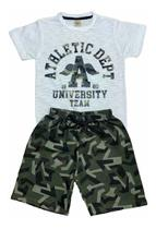 Kit 10 Conjunto Masculino Camiseta e Bermuda Malha Moletom - Centra Kids
