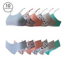 Kit 10 Conjuntos Lingerie Infantil Calcinha E Top - Opte Moda Intima