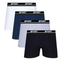 Kit 10 Cuecas Boxer Algodão Sortida Sport Box Lisa SP72 - Men
