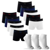 Kit 10 Cuecas Boxer de Cotton 4.0 com 3 Pares de Meia Cano Curto Branca G - POLO Match