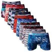 Kit 10 Cuecas Boxer Falke Microfibra Masculina Estampadas 90% Poliéster 10% elastano -