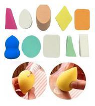 Kit 10 Esponja Maquiagem Facial Coxinha Quadrado Queijo Base Corretivo - Esponjas
