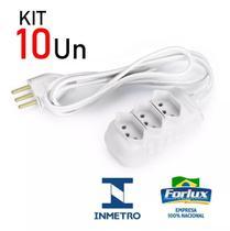 Kit 10 Extensão Elétrica Branca Tripolar com 3 Tomadas 3 Metros Bivolt 10A - FORLUX