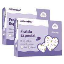Kit 10 fralda especial estampada feminina - incomfral -