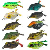Kit 10 Isca Sapinho Frog Rã Anzol Duplo 12g 5,5cm com Estojo - C-Fishing