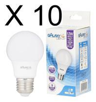 Kit 10 lampada led 12w (75w) bivolt e-27 branca fria - GALAXY