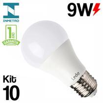 Kit 10 Lâmpada LED 9W Bulbo E27 Bivolt Branco Frio 6500K Ledo -