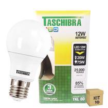 Kit 10 Lâmpada Led Bulbo 12w Branco Quente 3000k Bivolt Taschibra -