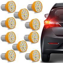 Kit 10 Lâmpadas 12 LEDs 1 Polo Trava Reta 21W 12V Luz Laranja Aplicação Pisca Seta - Autopoli