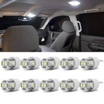 Kit 10 Lâmpadas LED T10 W5W 6 LEDs 12V 1,8W 6500K Branca Lanterna Traseira Painel Luz Teto Placa - Autopoli