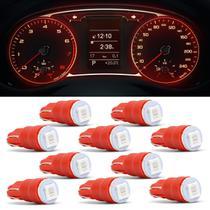 Kit 10 Lâmpadas T10 W5W Pingo Esmagadinha 5W 12V Luz Vermelha Aplicação Painel Autopoli -