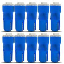 Kit 10 Lâmpadas T5 W5W Pingo Esmagadinha 5W 12V Luz Azul Aplicação Painel Autopoli -