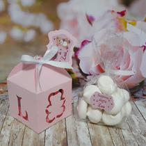 Kit 10 Lembrancinha Caixinha com Mini Suspiro rosa - Mania Baby Mg