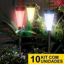 Kit 10 Luminária Solar jardim led colorido verde azul amarelo pvc balizador - Ecoforce