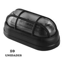 Kit 10 Luminária Tartaruga Externa Preta Com Grade E27 - OPL -