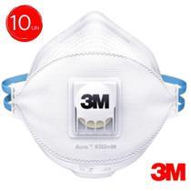 Kit 10 mascara aura 3m pff2 respirador n95 com válvula proteção hospitalar -