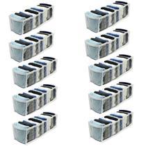 Kit 10 Organizador de Gavetas Transparente e Branco 11 Nichos Colmeia 10x34x10 123Organizei - 123 Organizei